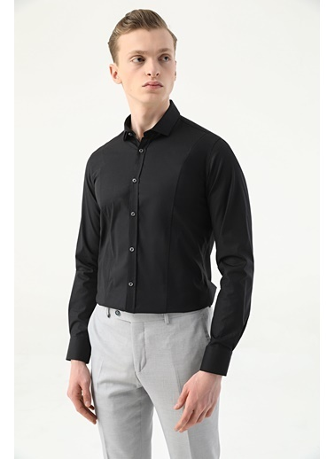 Tween Super Slim Fit Düz Gömlek Siyah